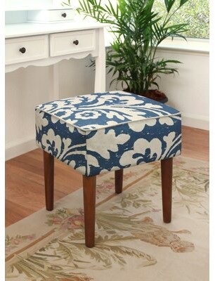 Highland Dunes Tolman Jacobean Floral Upholstered Vanity Stool Color: Navy Blue