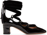 Valentino Black Patent and Velvet Ghillie Heels