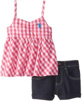 U.S. Polo Assn. Little Girls' Baby Doll Top with Denim Shorts