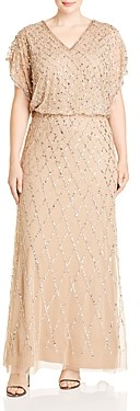 Adrianna Papell Plus Blouson Sequined Gown