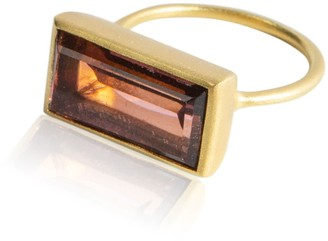 Adore Adorn Jewelry Gloria Ring Brown Garnet & Matte Gold