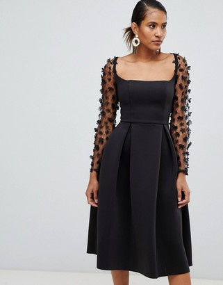Asos Design DESIGN square neck 3d floral lace midi prom dress-Navy
