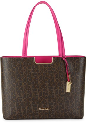 Calvin Klein Pindot Logo-Print Faux Leather Top Handle Bag