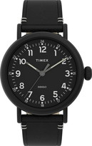 Timex R) Standard Leather Strap Watch, 40mm