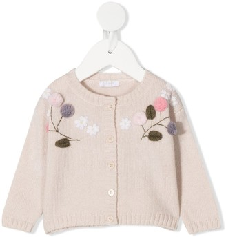 Il Gufo Flower-Embroidery Cardigan