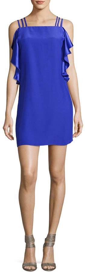 Amanda Uprichard Azura Short Sleeveless Ruffle Dress, Blue