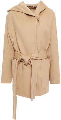 Vince Belted Wool And Cashmere-blend Felt Hooded Coat