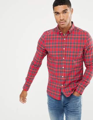 Asos Design DESIGN skinny check shirt in red tartan