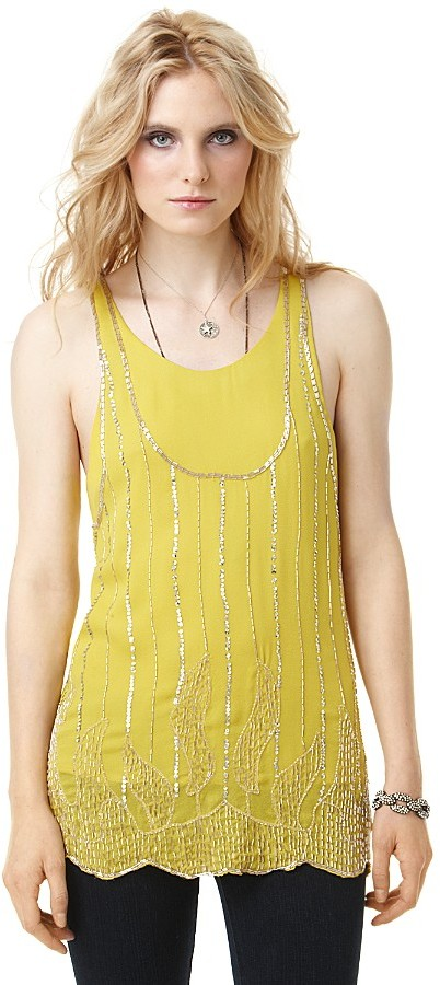Twelfth St. By Cynthia Vincent by Cynthia Vincent Beaded Silk Tank