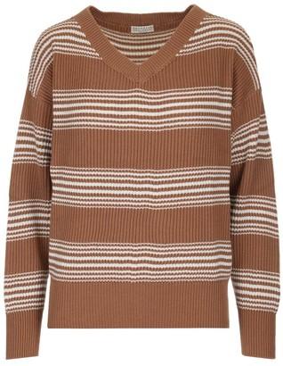 Brunello Cucinelli Striped V-Neck Sweater