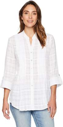 Ruby Rd. Women's Leno Plaid Button-Front Shirt with Roll-Tab Sleeves