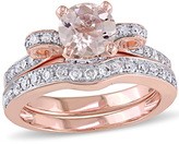 Zales 6.0mm Morganite and 1/2 CT. T.W. Diamond Vintage-Style Bow Bridal Set in 14K Rose Gold