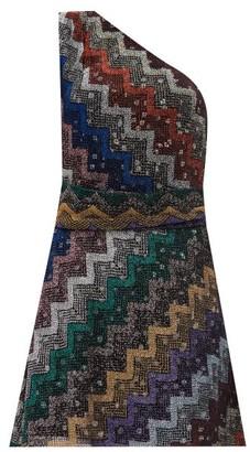 Missoni One-shoulder Polka-lined Chevron-striped Dress - Multi