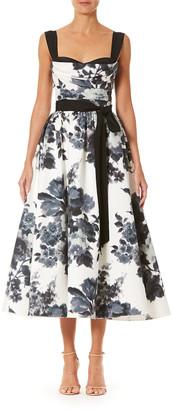 Carolina Herrera Floral-Print Sweetheart-Neck Tea-Length Dress