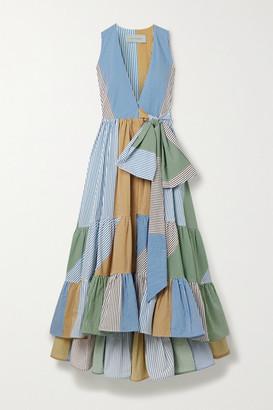 Silvia Tcherassi Harmony Striped Cotton-poplin Wrap Dress - Blue