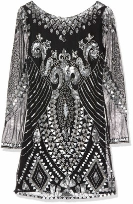 Frock and Frill Women's Embellished Shift Long Sleeve Dress