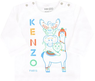 Kenzo Kids White T-shirt For Baby Boy With Logo
