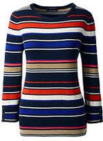 Classic Women's Petite Supima 3/4 Sleeve Stripe Sweater-Rich Sapphire Multi Stripe