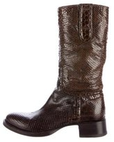 Rocco P. Snakeskin Mid-Calf Boots