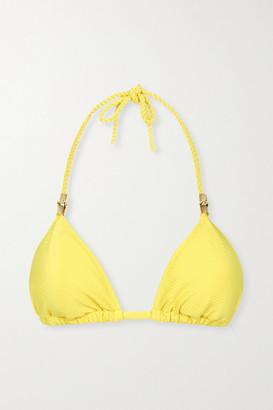 Heidi Klein Cancun Embellished Triangle Bikini Top - Yellow