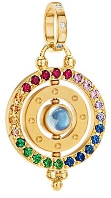 Temple St. Clair Celestial 18K Yellow Gold & Rainbow Multi-Stone 3X Orbit Pendant
