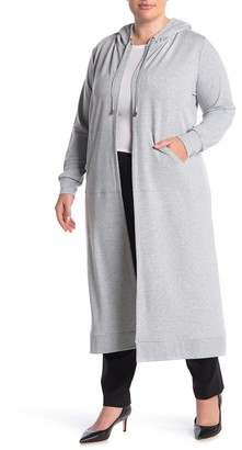 Cyrus Long Sleeve Open Front Hooded Cardigan (Plus Size)