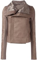 Rick Owens 'Clean' biker jacket - women - Cotton/Calf Leather/Cupro/Virgin Wool - 40