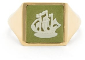 Ferian - Wedgwood Ceramic Ship Cameo And Gold Signet Ring - Green