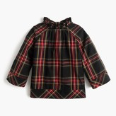 J.Crew Girls' ruffle-neck top in Stewart plaid