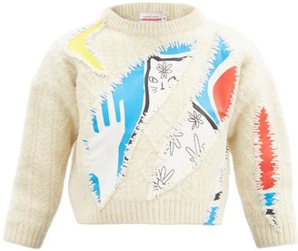 Charles Jeffrey Loverboy Cat-print Applique Wool Sweater - Beige Multi