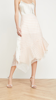ANAÏS JOURDEN Sheer Striped Lace Skirt with Side Ruffles