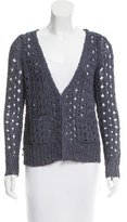 Veronica Beard Open Knit V-Neck Cardigan