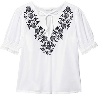Lucky Brand Embroidered Feminine Blouse (Bright White) Women's Clothing