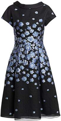 Teri Jon By Rickie Freeman Cap Sleeve Floral Cocktail Dress