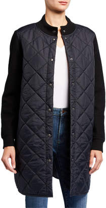 Eileen Fisher Quilted Nylon Button-Front Wool Sleeve Long Jacket