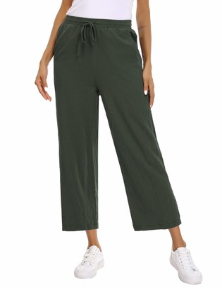 Abollria Womens Ladies Linen Cotton Trousers Pants Summer Casual Cropped 3/4 Length Trousers Army Green