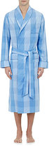 Barneys New York Men's Piped Checked Robe-Blue