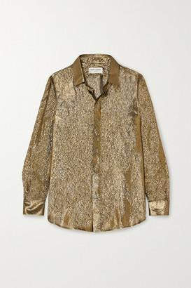 Saint Laurent Metallic Silk And Lurex-blend Blouse