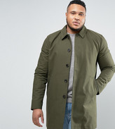 Asos PLUS Single Breasted Trench Coat With Shower Resistance in Khaki