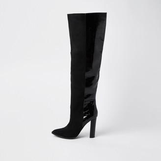 River Island Womens Black RI design high leg boots