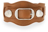 Balenciaga Giant 12 Leather Buckle Bracelet, Tan