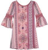 IZ Amy Byer Girls 7-16 IZ Amy Byer Chiffon Printed Bell Sleeve Dress