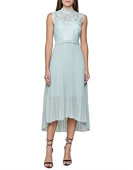 Reiss Aideen Lace Detail Pleated Midi Dress