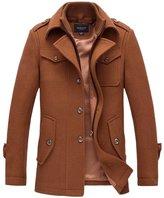 Fluorodine Men's Zipper Inside Button Outside Jacket Winter Trench Coat M