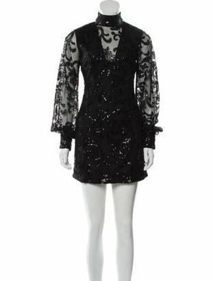 Alexis Mock Neck Mini Dress Black