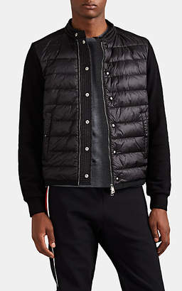 Moncler Men's Down-Quilted Cotton Zip-Front Sweater - Black