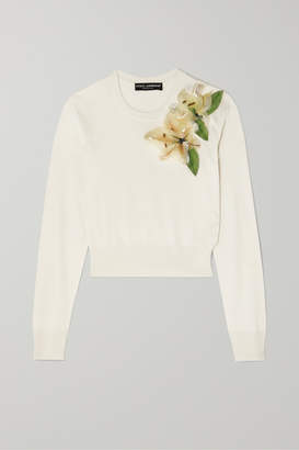 Dolce & Gabbana Embellished Appliqued Silk Sweater - White