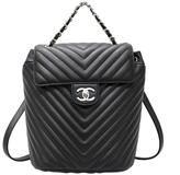 Chanel Black Chevron Quilted Urban Spirit Backpack