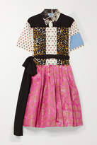 Prada Printed Cotton-poplin And Metallic Brocade Mini Dress - Ivory