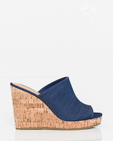 Le Château Denim Open Toe Wedge Slide Sandal